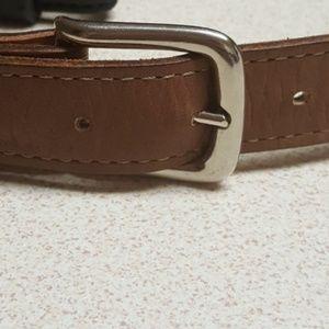 "Brown genuine leather 28"" long belt"